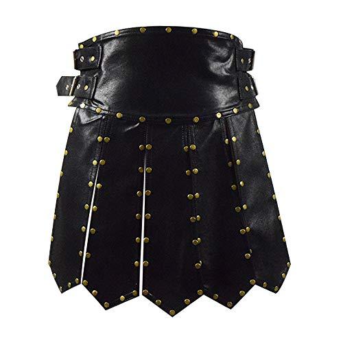 Zhangjianwangluokeji Schwere römische Gladiator Lederrock Kostüm schwarz Schürze Gürtel Messing Armaturen Cosplay Rüstung für Männer (L, Schwarz)