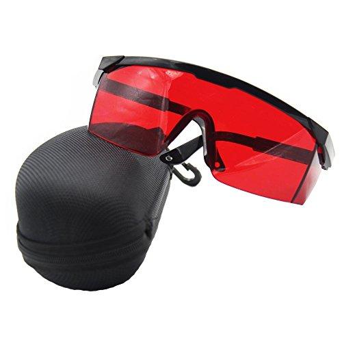 ANZESER LB-FT láser gafas de seguridad con el templo ajustable, lente roja, marco negro con el caso