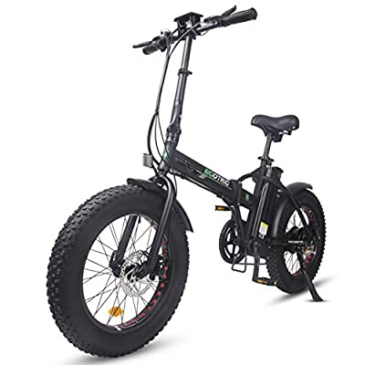 """ECOTRIC Powerful Foldable Fat Tire Bike 13AH 48V Li-ion Battery 500W Motor 20"""" X 4"""" Fat Tire Aluminum Frame Electric Beach Mountain Snow Ebike Electric Bicycle - Black"""
