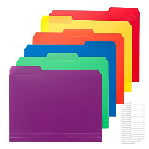 Sooez 36 Pack Colored Plastic File Folders with Sticky Labels, Heavy Duty Letter Size File Folder with Erasable 1/3-Cut Tab, Stronger Than Manila File Folder, Perfect for Organization, Assorted Color