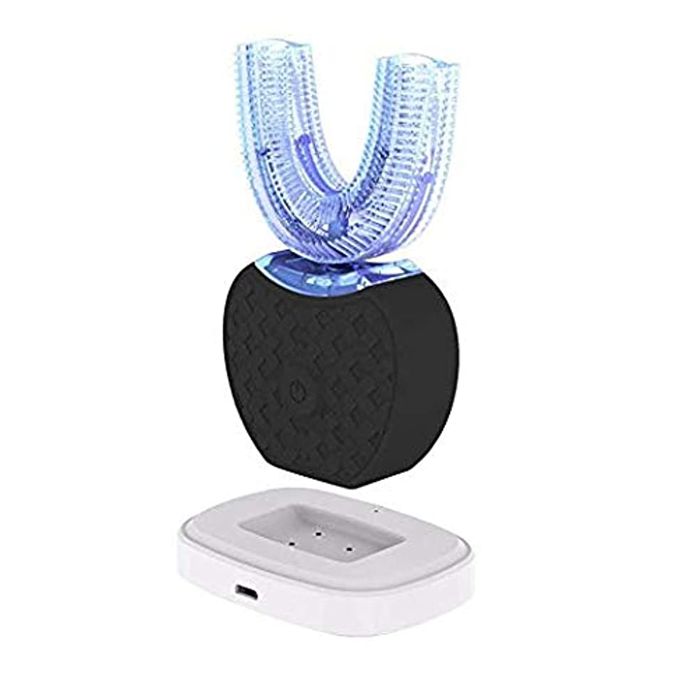 送る香水評判ALANO 電動歯ブラシ2代目 U型電動歯ブラシ 超音波自動歯ブラシ360°オールラウンドディープクリーニング ワンタッチ操作 (ブラック)