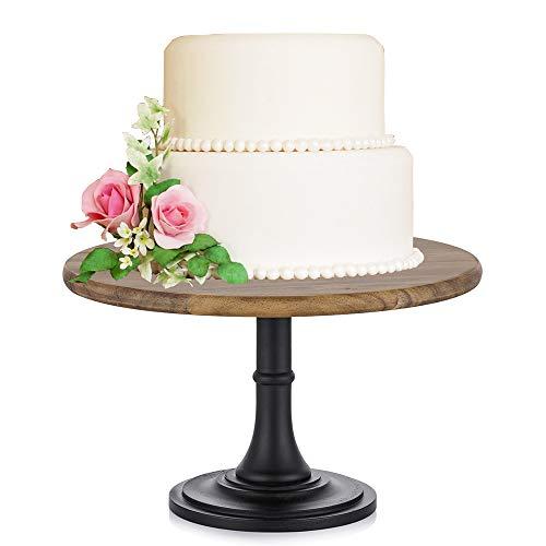 NUPTIO 10 inches/25.5cm Rustic Base of Round Wood Wedding Cake Stand, Wedding Birthday Party Dessert Cupcake Pedestal/Display/Plate