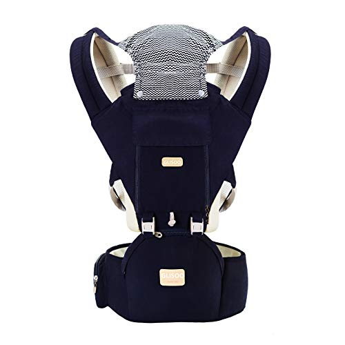 Ergonomic 360°Baby Soft Carrier+Easy to Put On 6 Comfortable Positions+Breastfeeding Fits All Newborn+Toddler +HipSeat+ Air Mesh Breathable+All Seasons+Perfect for Hiking+Shopping+Gift Package(Blue)