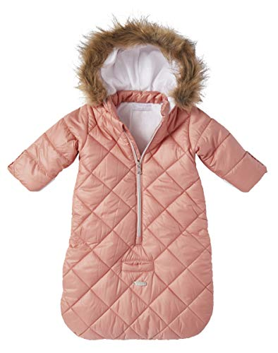 Cremson Girls Boys Newborn Infant Baby Puffer Carbag Pram Bag Snowsuit Bunting (0/6 Months, Mauve Pink Quilted)