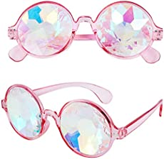 RaveGear EDM Rave Festival Party Trippy Hippie Raver Rainbow Prism Crystal Glass Kaleidoscope Fractal Diffraction Glasses – Pink