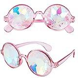 RaveGear EDM Rave Festival Party Trippy Hippie Raver Rainbow Prism Crystal Glass Kaleidoscope Fractal Diffraction Glasses – Pink
