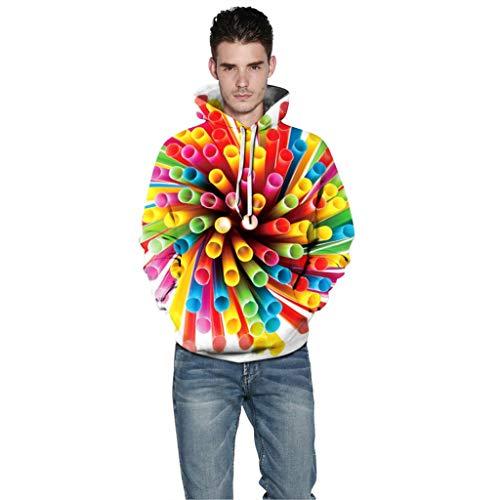 ZuzongYr Herren\'s Shirts Unisex Herren Neue Art 3D Druckte Hoodie mit Kapuze Lose Lange Hülsen Sweatershirt Oberseiten Pullover