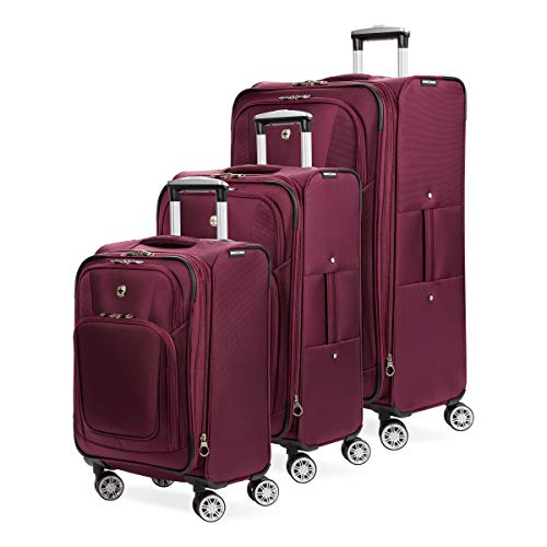 SWISSGEAR 7768 3-Piece Expandable Rolling Spinner Luggage Set | Wheeled Travel Suitcases | 20-inch, 24-inch, 28-inch - Burgundy