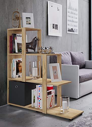 VCM Regal Treppenregal Raumteiler Stufenregal Bücherregal Standregal Farbwahl Slando Honig-Eiche