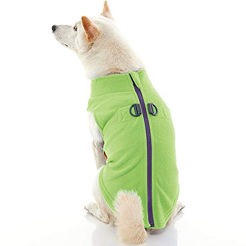 Gooby Zip Up Fleece Dog Vest - Lime, Large - Step-in Dog Jacket with Zipper Closure and Leash Ring - Winter Small Dog Sweater - Warm Dog Clothes for Small Dogs for Indoor and Outdoor Use