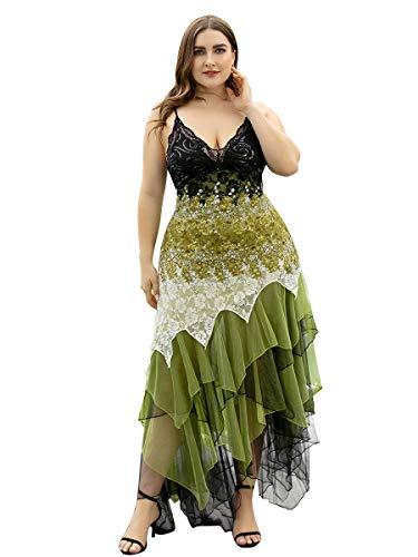Ever-Pretty Asimétrico Vestido de Fiesta Largo para Mujer Elástico en Encaje Volantes Escote V Boda 6212PL