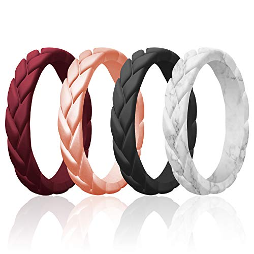 ROQ Silicone Rings for Women Multipack of 4 Womens Silicone Rubber Wedding Rings Bands Flame Leaves - Bordeaux, Rose Gold, Marble, Black Colors - Size 7