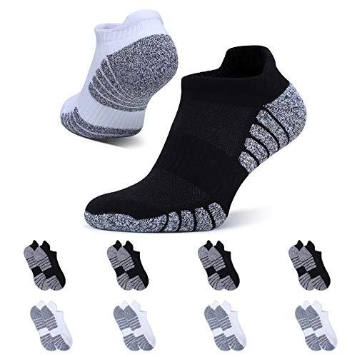 YouShow 8 Pares Calcetines de Hombre Mujer Deportivos Algodon Transpirable Cortos(4x Negro + 4x Blanco,47-50)