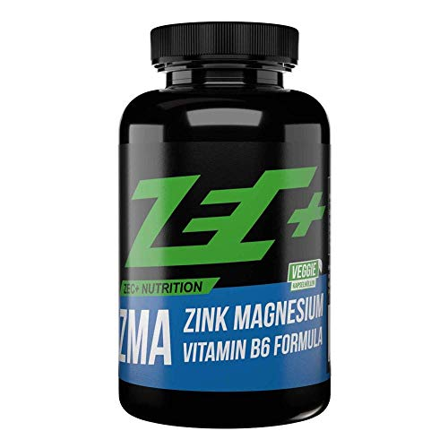ZEC+ ZMA - 90 Kapseln, hochwertiger Komplex mit wertvollem Zink, Magnesium & Vitamin B6, Nahrungsergänzung Made in Germany