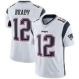 YDYL-LI American Football New England Patriots # 12 Tom Brady Fans - Trikot Atmungsaktiv - Entspannt Und Komfortabel T-Shirt - Sweatshirt, Weiß - Spleißen,3XL