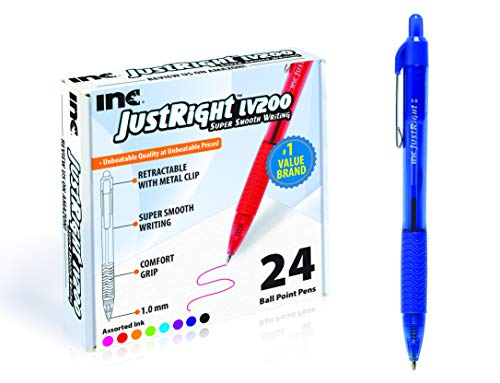 Inc, Just Right LV200 Retractable Ballpoint Ink Pens, 24 Count, assorted colors, Super Smooth Writing