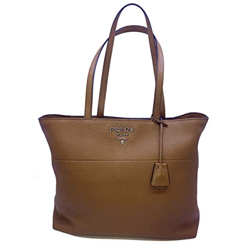 Prada Vitello Phenix 1BG203 Einkaufstasche aus Leder, Cannella-Braun