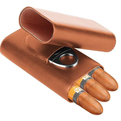 Zigarren Etui, 3-Finger-Humidore aus feinem Zedernholz hergestellt mit Zigarrenschneider (Braun)