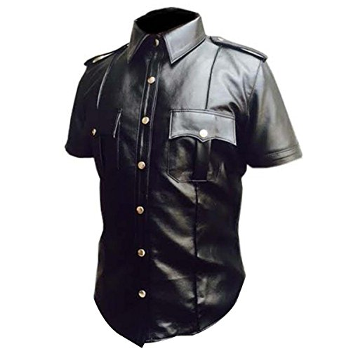 Mens Black Sheep Cow Real Leather Police Uniform Shirt