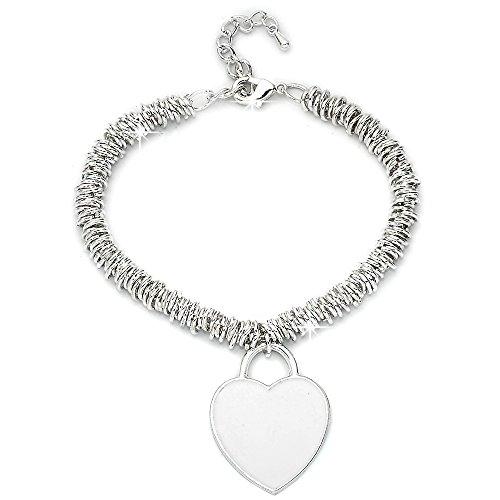 Beloved Bracciale da donna, braccialetto con ciondolo pendente a cuore con smalto - misura regolabile - anallergico - vari colori (BIANCO)