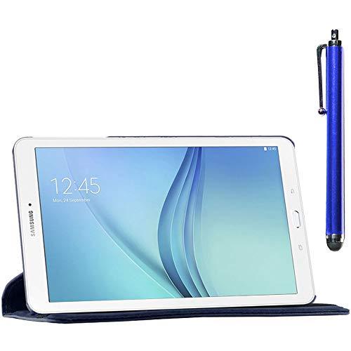 ebestStar - Cover Compatibile con Samsung Galaxy Tab E 9.6 T560, T561 Custodia Protezione Pelle PU con Supporto Rotazione 360 + Penna, Blu Scuro [Apparecchio: 241.9 x 149.5 x 8.5mm, 9.6'']
