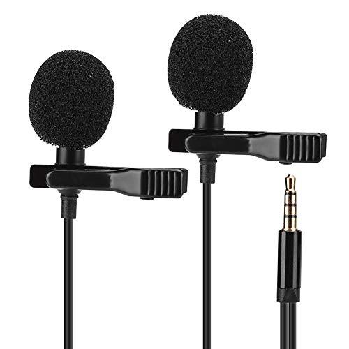 Microfoon Zwart Tweekoppige mini-kraag Clip Bedrade hoofdtelefoonDraagbare handsfree microfoon voor mobiele telefoon Live uitzending Opname Interview