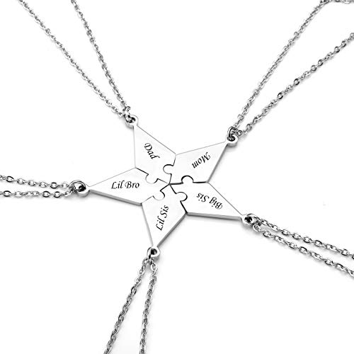 PiercingJ Personalized Engraved Custom 5 Pieces Best Friends BFF Family Puzzle Necklaces Stainless Steel Pentagram Star Friendship Matching Jigsaw Pendant Chain for Women Sisters Gift