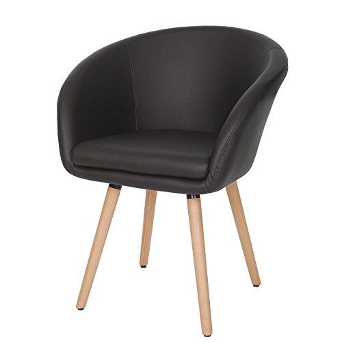 Chaise de Salle à Manger Malmö T633, Fauteuil, Design rétro des années 50 - Similicuir, Marron