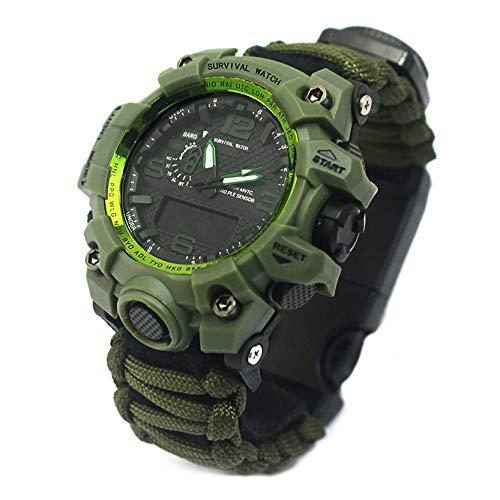 LHWQAN Outdoor Sports Electronic Uhr, duale Bewegung leuchtende Uhr, kompass, regenschirmschnur, Camping wasserdichte multifunktionale Überlebensuhr, Feriengeschenk ArmyGreen