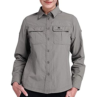 CAMEL CROWN Quick Dry Shirt Women Long Sleeve Roll-Up Shirts UV Protection for Work Outdoor Hiking Fishing