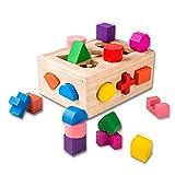 Logo FC Bloques de construcción de la Primera Infancia for niños de educación de la geometría 15 Hoyos par Bloques de construcción de Madera extraíble Cajas de Inteligencia de Madera Desmontables