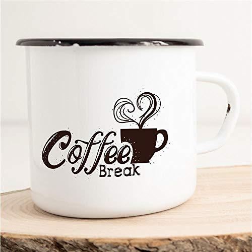 Emaille Tasse Becher Coffee Break Kaffeepause entspannen Herz Liebe