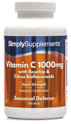 Vitamina C 1000mg - ¡Bote para 1 año! - Apto para veganos - 360 Comprimidos - SimplySupplements