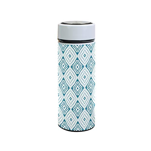 XiangHeFu Outdoor Art Graphic Diamond patroon lekvrij koud of warm houden 12 oz reisbeker sport waterfles thermoskan