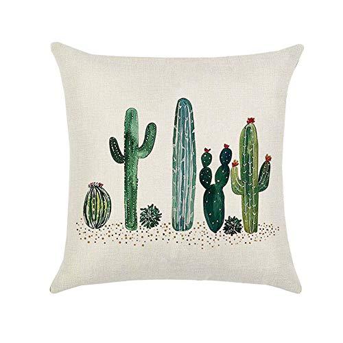 JUNGEN Funda de cojín de Cactus Funda de Almohada Cuadrada Funda de cojín de Lino para Coche Sofá Cama Oficina Accesorios de decoración del hogar 45x45 cm (Estilo 2)