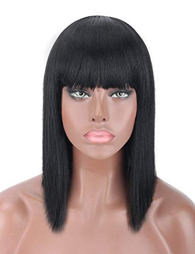 kalyss 35,6 cm kurz gerade Schulter Länge Schwarz Yaki Synthetik Bob Haar Perücke hitzebeständig volles Haar Ersatz Perücke mit Pony Perücke für Frauen