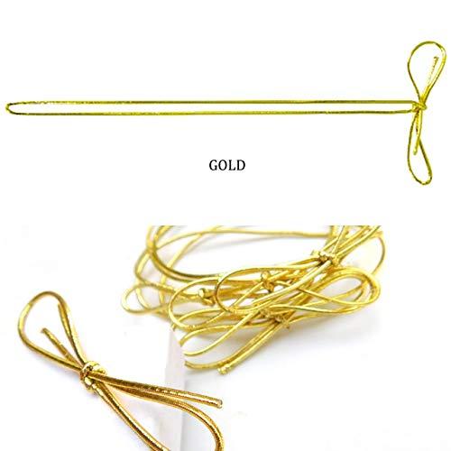 POSHNPRETTY 100 PCS Stretchy Elastic Metallic Braided Cord Loops Bows - Silver or Gold (Gold, Cord Length: 14' Loop Length: 8')