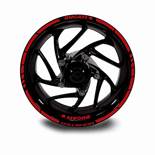 Juego Completo Pegatinas LLANTA para Ducati Monster ADESHIVOS Logos + Marca Ambos Lados (Rojo)