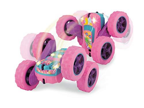 Dickie Toys Pink Drivez RC Candy Flippy, ferngesteuertes Spielzeugauto, Rotations- und Flip-Funktion, mit Fernbedienung, bis 8 km/h, für Jungen und Mädchen, beleuchtet, ab 6 Jahren, 28 cm, pink/türkis