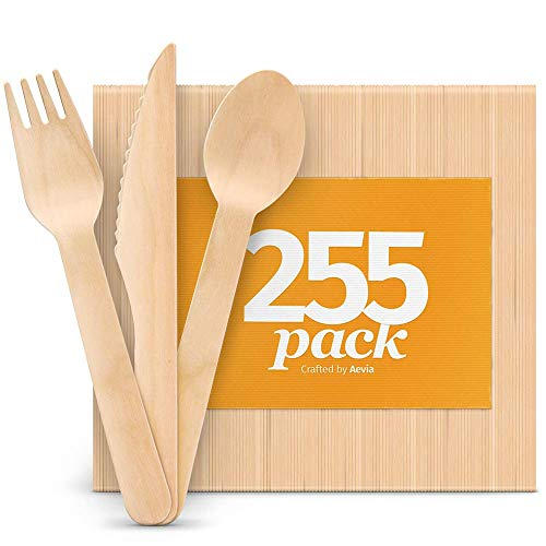"Disposable Wooden Cutlery Set - Natural, Eco-Friendly, Biodegradable, Compostable - Great Alternative to Plastic or Bamboo Utensils - Pack of 255 (85 Forks, 85 Spoons, 85 Knives - 6.5"") By Aevia"