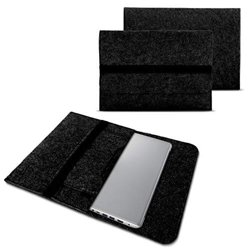 NAUC, custodia per Lenovo Yoga 900/900 S / 910/510 / 520/710 / 720/730 13,3-14 pollici in feltro, custodia in feltro, protettiva, per tablet, borsa in feltro con tasche interne e chiusura sicura grigio scuro