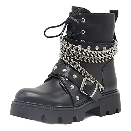 MeiLuSi Botas de combate militares con cordones para mujer, cadena gótica, tachonadas, botines de moto, 8 Negro, 38 EU