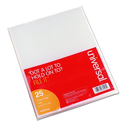 Universal 81525 Project Folders, Jacket, Poly, Letter, Clear (Pack of 25)