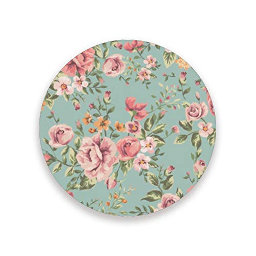 CHEHONG Sottobicchieri assorbenti vintage fiore verde fondo ceramica base sughero tazza di caffè decorazione casa ufficio tazze di vetro tavolo da pranzo set di 1 2 4, Ceramica + base in sughero., Colore, Set di 1