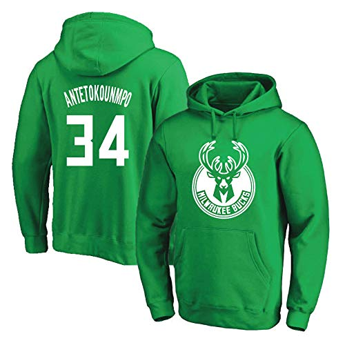 Männer Damen Basketball Hoodie NBA Bucks 34# Antetokounmpo Basketball Lose Jersey Komfortable Langarm T-Shirt
