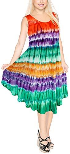 LA LEELA para Mujer Cubierta Suelta de baño Bikini Traje de baño de Color Calabaza Naranja Vestido de la Playa de Talla Grande