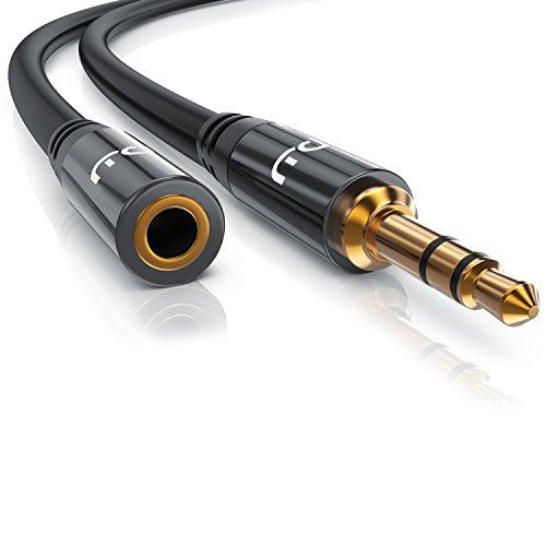 Primewire - 5m Cavo prolunga jack 3,5mm maschio femmina - Spinotto in metallo pieno dalle dimensioni perfette - Connettore maschio da 3,5mm a connettore femmina da 3,5mm - Serie Premium HQ
