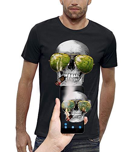 PIXEL EVOLUTION Maglietta 3D Cranio SIGARI E Occhiali da Sole in Realtà Aumentata Uomo - Taglia XL - Nero