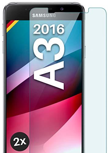 moex Panzerglas kompatibel mit Samsung Galaxy A3 (2016) - Schutzfolie aus Glas, bruchsichere Bildschirmschutz Folie, Crystal Clear Panzerglasfolie, 2X Stück