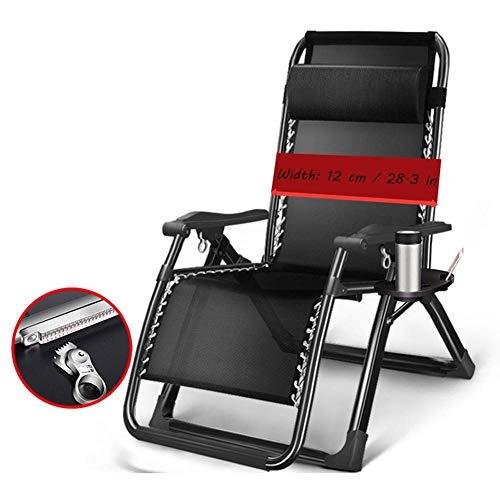 Übergroßer Garten-Liegestuhl Atmungsaktiver Terrassenliegestuhl Mit Getränkehalter Klappbare Sonnenliege Schwerelosigkeitsstuhl 72 cm breit Unterstützung 380 lbs